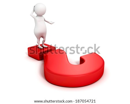 white 3d business man thinking with red question mark. search idea concept 3d render illustration - stock photo