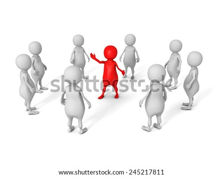 white 3d business team group with red leader boss. leadership concept 3d render illustration - stock photo