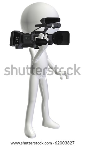 white3d character camera-man - stock photo