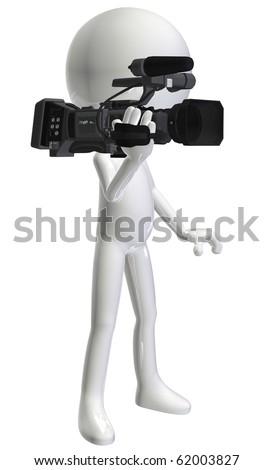 white3d character camera-man - stock photo