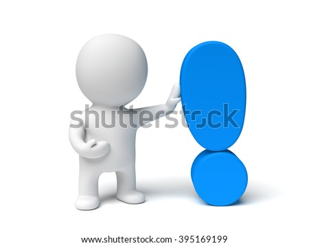 white 3d character holding a blue exclamation mark in a white scene