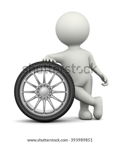 White 3D Character Leaned on a Car Wheel 3D Illustration on White Background - stock photo
