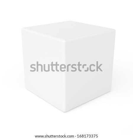 white 3d cube isolated on white background. 3d rendering. - stock photo