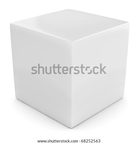 white 3d cube isolated over white - stock photo