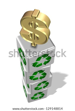 White 3d cubes with recycling symbol on them and golden dollar symbol on the top / Recycling make money
