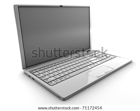 White 3D detailed render laptop isolated with a blank screen - stock photo