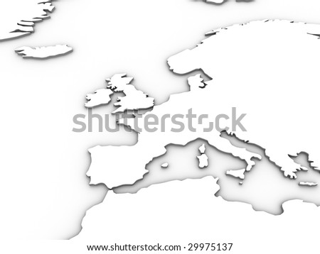 White 3d europe illustration. Tip: Try setting layer mode to 'multiply' and using as an effective overlay in your design.
