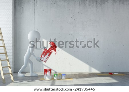 White 3D guy throwing red paint on wall during renovation (3D Rendering) - stock photo