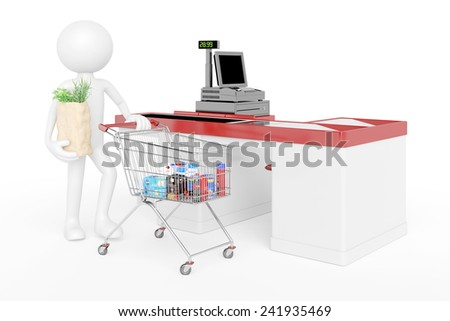 White 3D guy with shopping cart in supermarket at checkout (3D Rendering) - stock photo