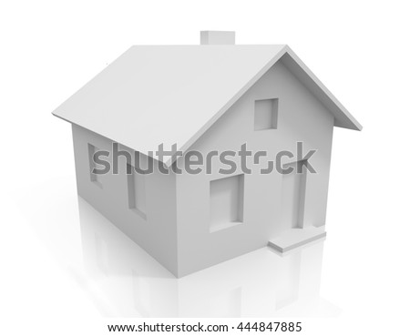 White 3D house with reflection on white background. Side view - stock photo