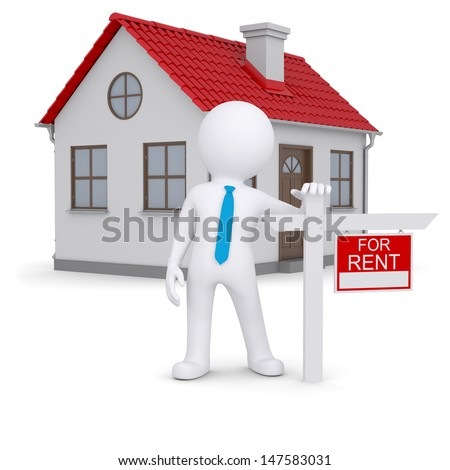 White 3d human and small house with sign a lease. Isolated render on a white background - stock photo
