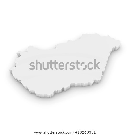 White 3D Illustration Map Outline of Hungary Isolated on White - stock photo