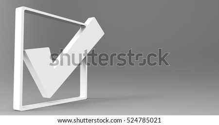 White 3D Illustration Of A Check Mark Check Box On A Light Masked Transparent Background