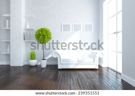 White 3d interior of a living room - stock photo