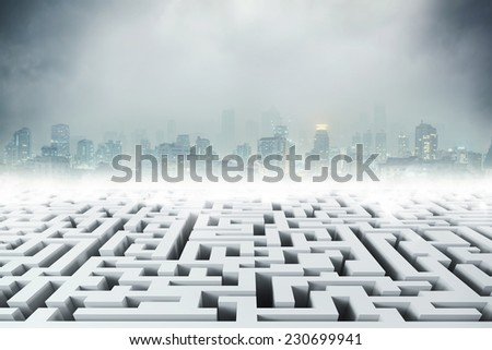 White 3D labyrinth and night city - stock photo