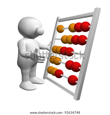 White 3D man calculating with an abacus - stock photo
