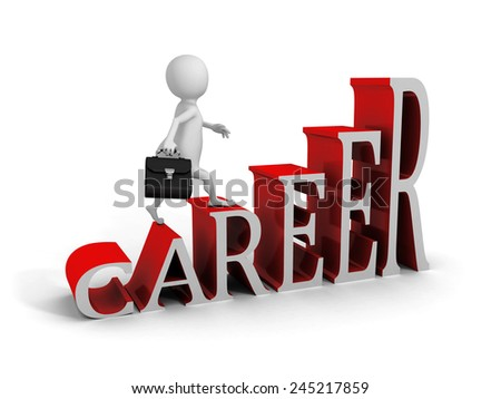 white 3d man climbing up on career text ladder. 3d render illustration - stock photo