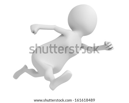 white 3d man fast running hurry up