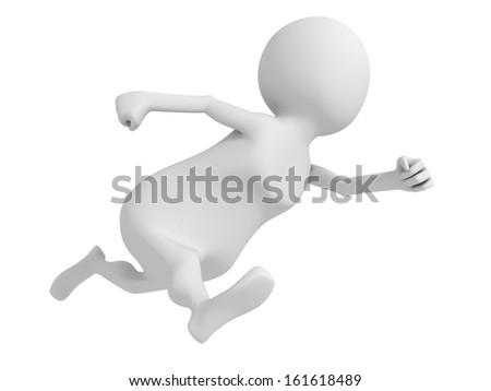 white 3d man fast running hurry up - stock photo