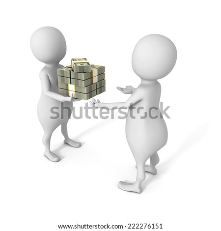 white 3d man giving bundle of dollars to another person. 3d render illustration - stock photo