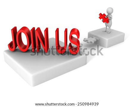 white 3d man jigsaw bridge bridge to JOIN US word. teamwork concept - stock photo