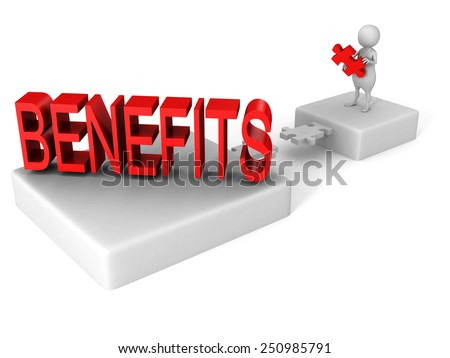 white 3d man jigsaw puzzle bridge to red BENEFITS word. 3d render illustration - stock photo