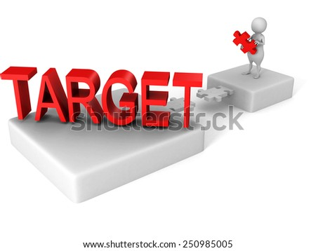 white 3d man jigsaw puzzle dridge to TARGET word. success concept 3d render illustration - stock photo