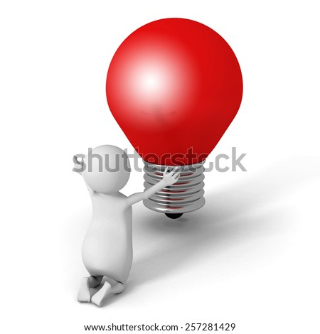 White 3d Man Pray For Good Idea. Red Light Bulb. Creativity Concept 3d Render Illustration - stock photo