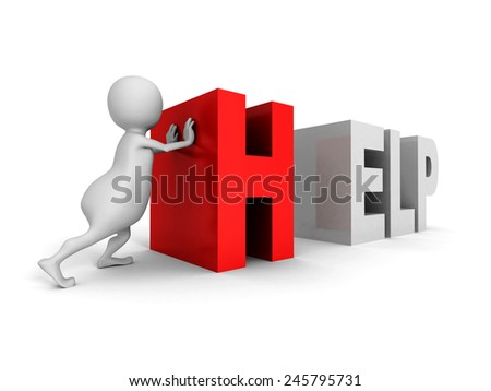 white 3d man push red HELP text word. 3d render illustration - stock photo