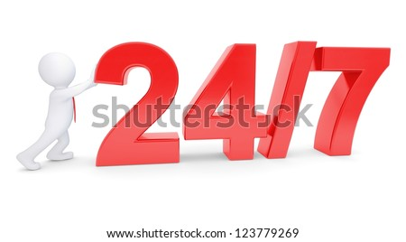"""White 3d man pushing a red text """"Round the clock seven days a week"""". Isolated render on a white background - stock photo"""