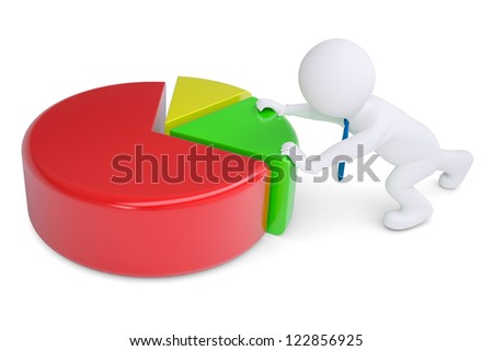 White 3d man pushing graph. Isolated render on a white background