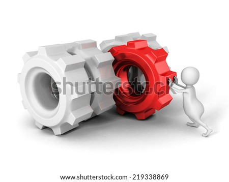 white 3d man pushing red cogwheel gear to others. 3d render illustration - stock photo