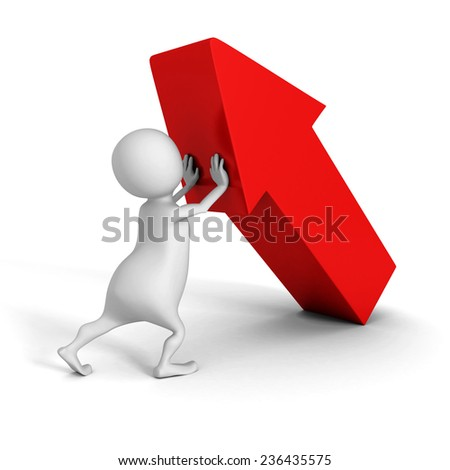 white 3d man pushing up big red arrow. success concept 3d render illustration - stock photo