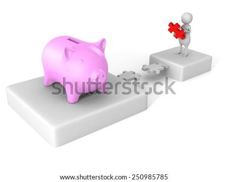 white 3d man puzzle bridge to piggy money bank. finance savings concept - stock photo