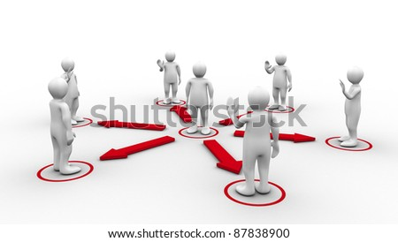 White 3d-man requesting connection with surrounding 3d-men greeting him on white background