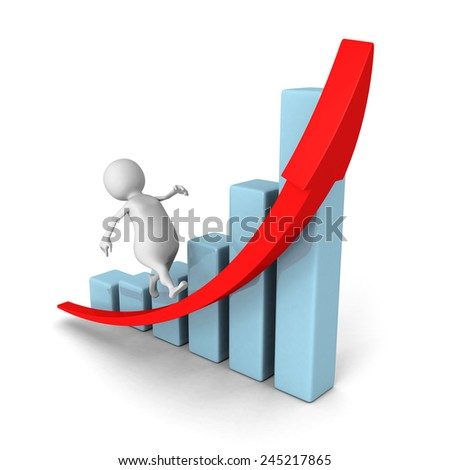 white 3d man run on rising grow bar chart red arrow. business success concept 3d render illustration - stock photo