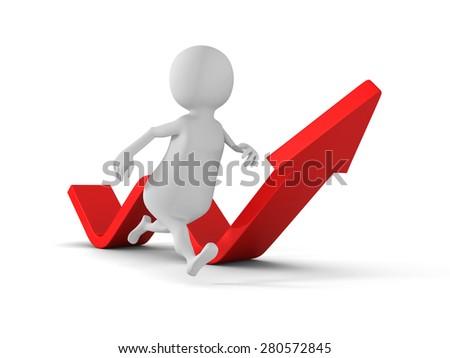 White 3d Man Running Arrow Way Forward. Success Concept 3d Render Illustration - stock photo