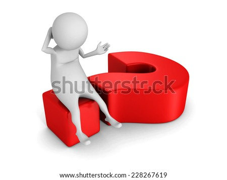 white 3d man sitting on big red question mark. 3d render illustration - stock photo