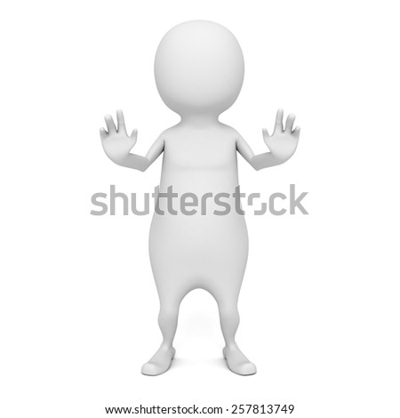White 3d Man Standing And STOP Gesturing. 3d Render Illustration