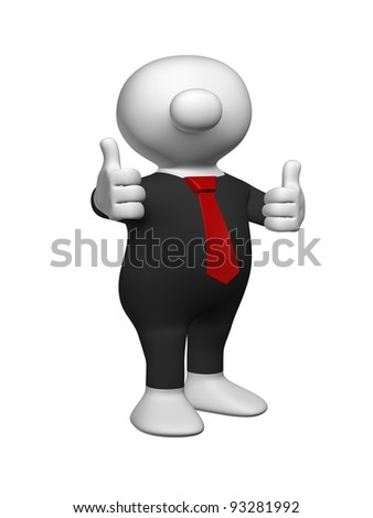 White 3D man sticking both thumbs in the air wearing a black suit and a red tie