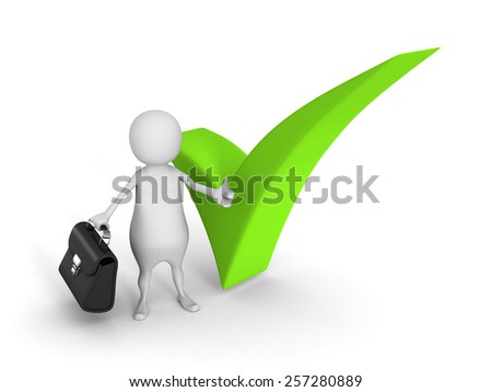 White 3d Man Thumbs Up With Green Check Mark. Agreement Concept 3d Render Illustration - stock photo