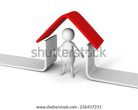 white 3D man under red roof house. real estate concept 3d render illustration - stock photo