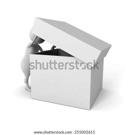 white 3d man watch in empty opened cover box container. 3d render illustration