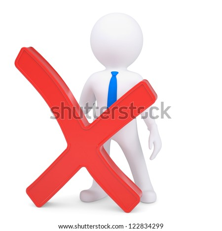 White 3d man with a red cross. Isolated render on a white background - stock photo