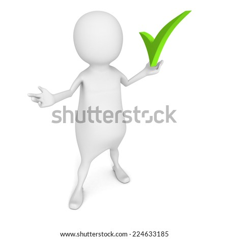 white 3d man with green check mark symbol. 3d render illustration - stock photo