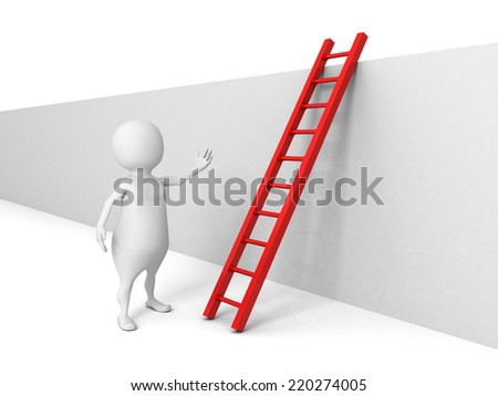 white 3d man with ladder behind the wall. success overcoming concept 3d render illustration