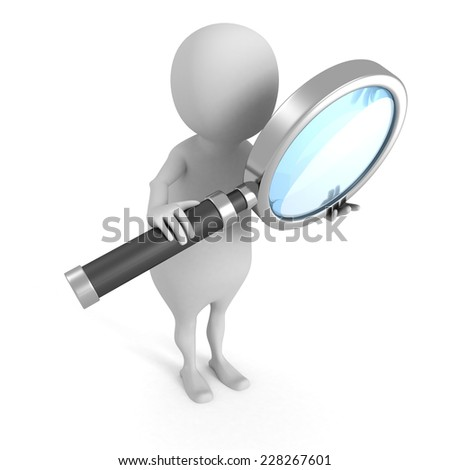 white 3d man with magnifying glass. 3d render illustration - stock photo