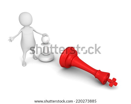 white 3d man with pawn and falling red chess king. 3d render illustrationn - stock photo