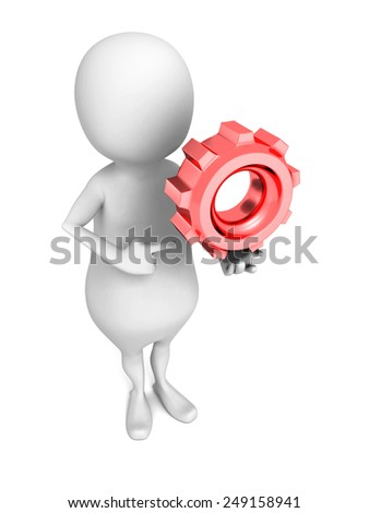 white 3d man with red cogwheel gear. 3d render illustration - stock photo