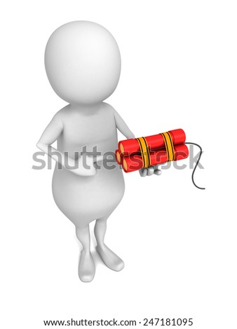white 3d man with red dynamite sticks. 3d render illustration - stock photo